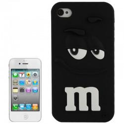 M&M Hoesje Silicone voor iPhone 4 & 4S (Zwart)