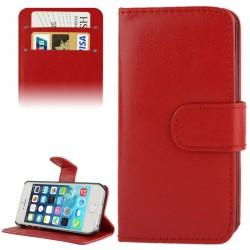 Horizontale Fijne Leren Flip Case voor iPhone 5 & 5S (Rood)