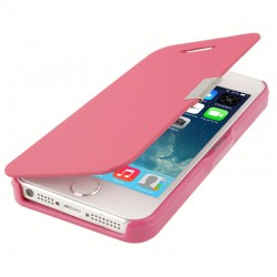 Horizontale Smooth Leren Flip Case voor iPhone 5 & 5S (Roze)