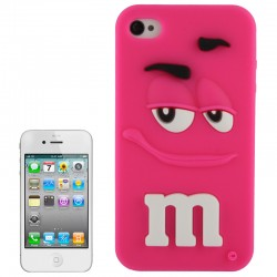 M&M Hoesje Silicone voor iPhone 4 & 4S (Roze)